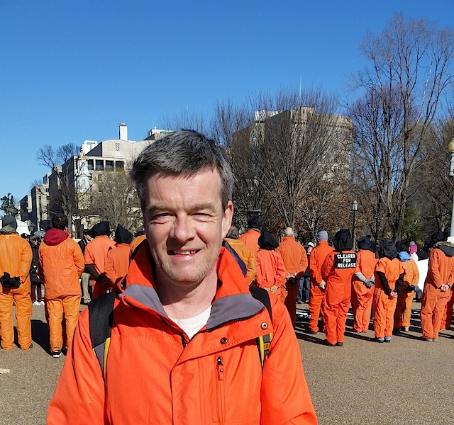 Andy Worthington outside the White House in Washington, D.C. on January 11, 2016 at a protest marking the 14th anniversary of the opening of the prison (Photo: Debra Sweet).