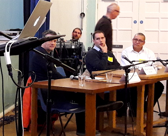 Andy Worthington at the Brockley Festival of Ideas for Change in November 2016 with moderator Oliver Lewis and novelist Gabriel Gbadamosi.