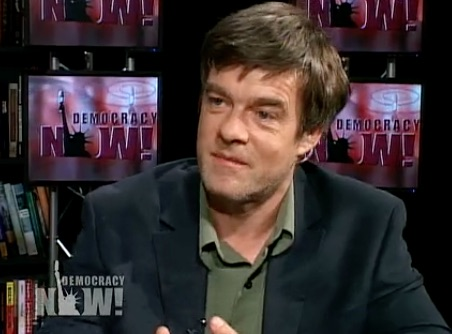 A screenshot from Andy Worthington's appearance on Democracy Now! in November 2009.