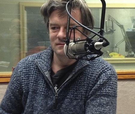 Andy Worthington on the radio: in this instance, speaking to Bill Newman, a civil rights and criminal defense attorney and the director of the Western Massachusetts office of the ACLU, who hosts a weekday radio talk show on WHMP in Northampton, Massachusetts. Photo taken on January 14, 2015, during Andy's US tour.