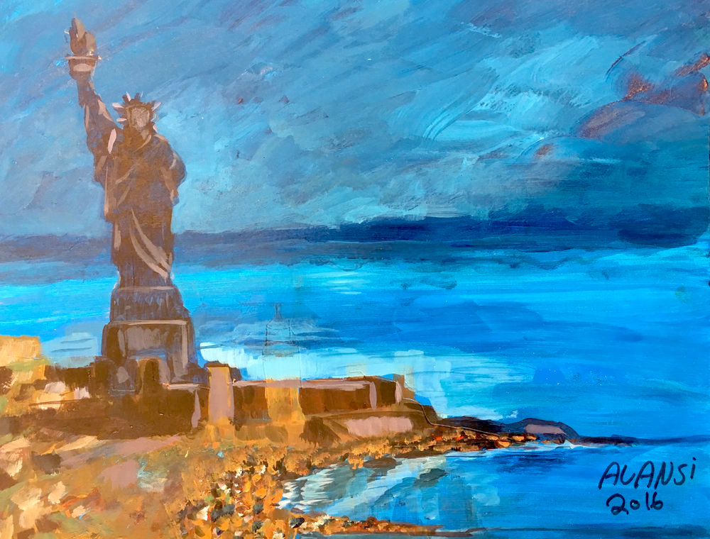 'The Statue of Liberty' (2016) by Muhammad Ansi (aka Mohammed al-Ansi), who was released from Guantanamo in January 2017.