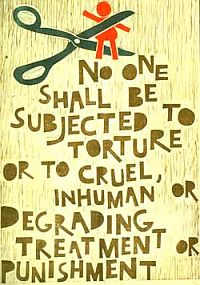 An anti-torture poster, by Octavia Roth, used by the UN