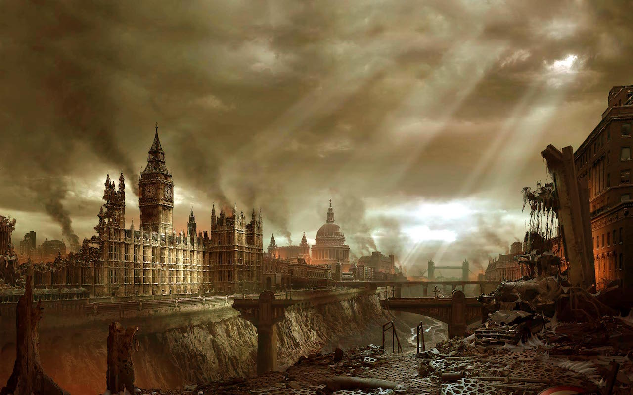 An apocalyptic view of London (image via Reddit).