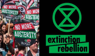 Anti-austerity protesters, and the Extinction Rebellion logo.