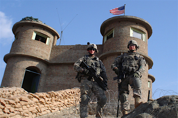 Two US soldiers outside Bagram prison in Afghanistan.