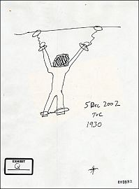 A sketch by Thomas V. Curtis, a Reserve MP sergeant, showing how Dilawar was chained to the ceiling of his cell in Bagram