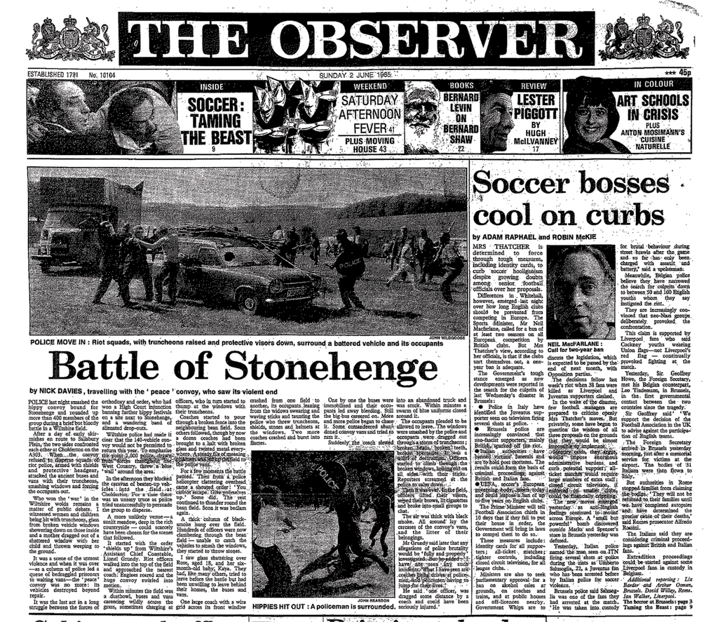 The Observer's front cover, the day after the Battle of the Beanfield, June 2, 1985, featuring a report by Nick Davies, one of the few journalists to have witnessed the horrendous state violence on the day.