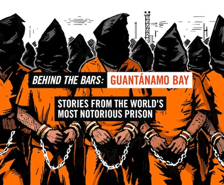 "An edited version of the banner for Vice's important feature on Guantanamo, ""Behind the Bars: Guantanamo Bay,"" published on November 10, 2014."