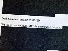 "The section of the MI5 memo referring to Binyam Mohamed as a ""committed Islamist"""