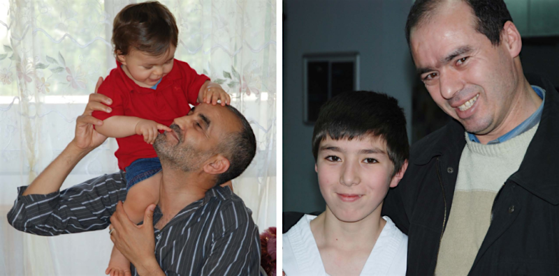 Former Guantanamo prisoners Lakhdar Boumediene and Mustafa Ait Idir, photographed with their sons in 2011 and 2012.