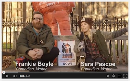 A screenshot of Frankie Boyle and Sara Pascoe from their video for the We Stand With Shaker campaign. Video filmed and edited by Billy Dudley.