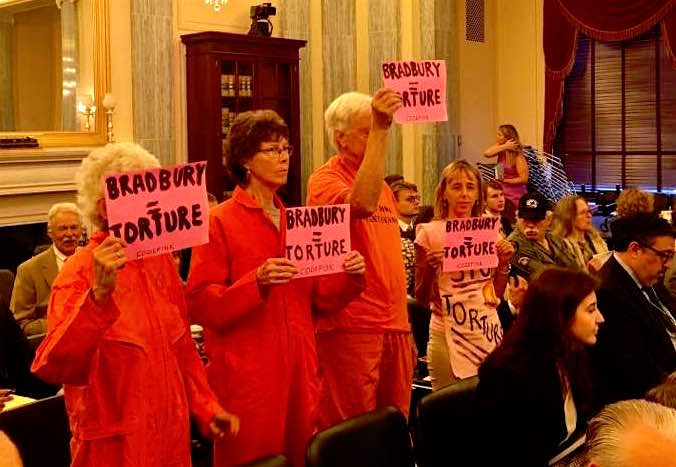 """Medea Benjamin of CODEPINK and other protesters at the Senate confirmation hearing for Steven G. Bradbury, one of the """"torture memo"""" authors, on June 28, 2017."""