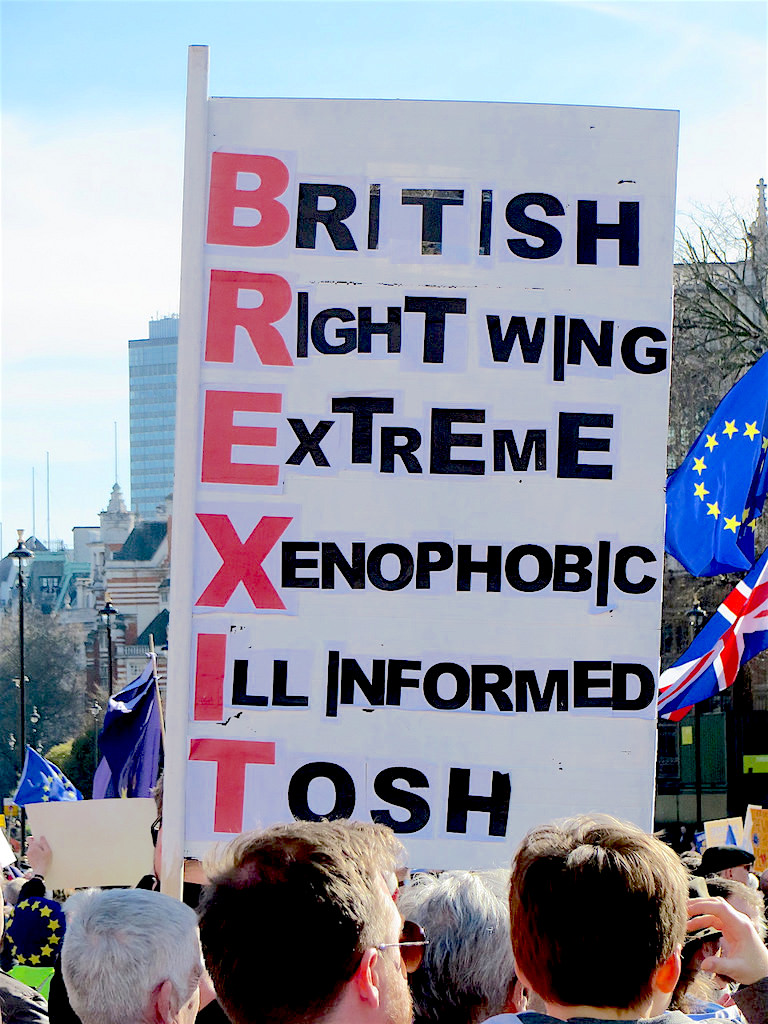 Brexit alphabet: a photo from the Unite For Europe march and rally in London on March 25, 2017 (Photo: Andy Worthington).