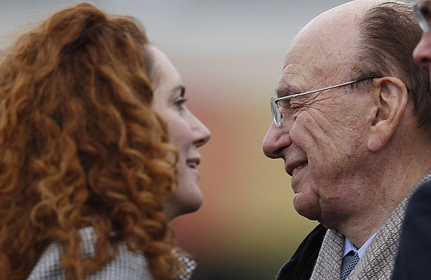 Rebekah Brooks and Rupert Murdoch in happier days, photographed together at the Cheltenham Festival in March 2010 (Photo: Reuters).
