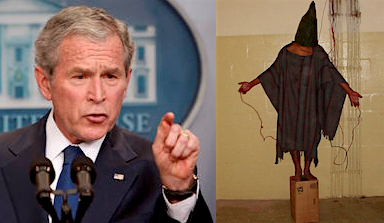 George W. Bush and one of the iconic images of prisoner abuse from Abu Ghraib in Iraq.