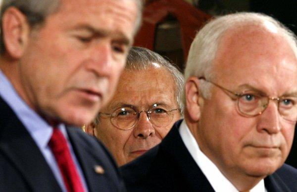 George W. Bush, Donald Rumsfeld and Dick Cheney.