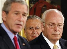 George W. Bush, Donald Rumsfeld and Dick Cheney