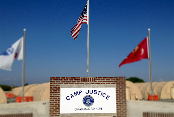 The sign and flags at Camp Justice, Guantanamo, where the military commission trials take place.