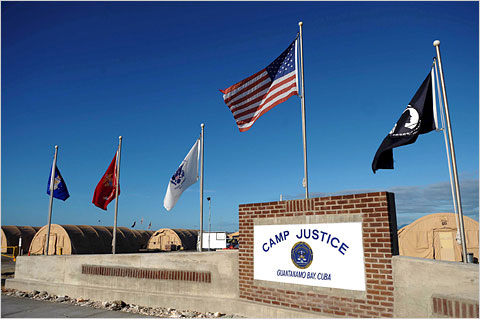 "The ""Camp Justice"" sign near the courtroom for the military commissions at Guantanamo."