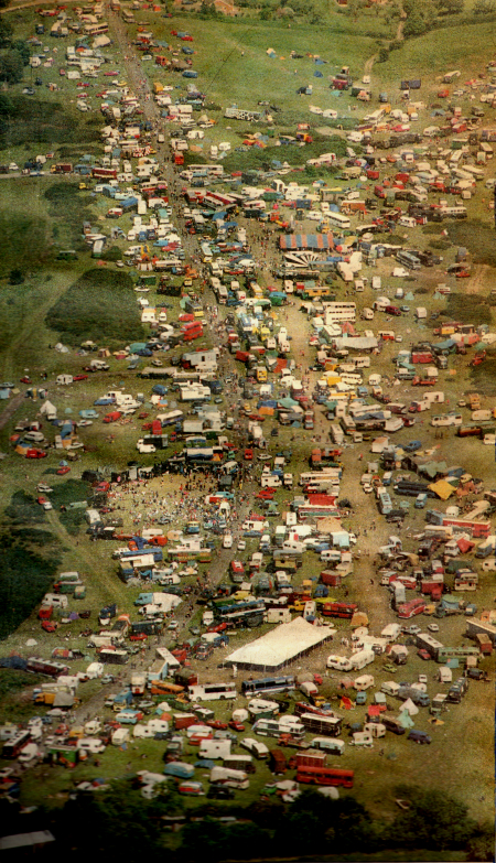 An amazing aerial photo of the Castlemorton festival in May 1992.