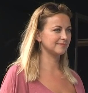 Singer Charlotte Church preparing to make her speech to the huge anti-austerity protest in London on June 20, 2015.