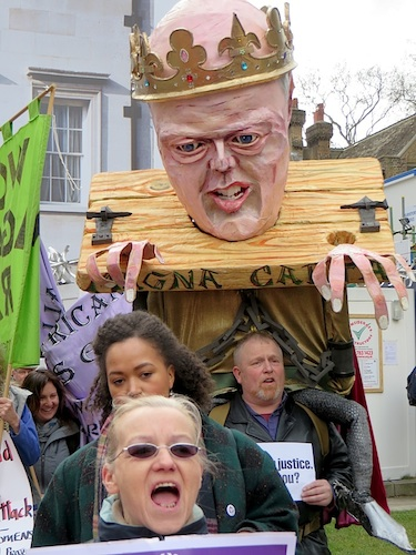 A puppet of Chris Grayling as King John at the Not the Global Law Summit opposite the Houses of Parliament on February 23, 2015 (Photo: Andy Worthington).