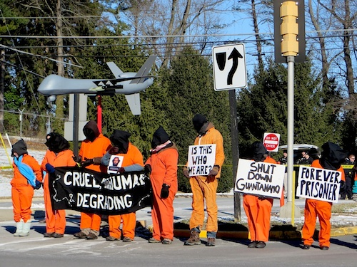 Campaigners against Guantanao, torture and the use of drones outside CIA headquarters in McLean, Virginia on January 10, 2015, the day before the 13th anniversary of the opening of Guantanamo (Photo: Andy Worthington).