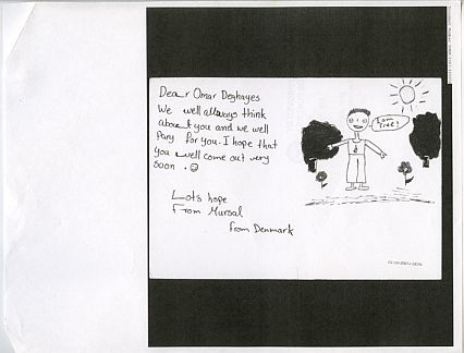 A letter to British resident Omar Deghayes, while he was held in Guantánamo