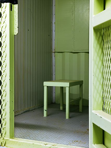 A stool in a cell in Camp Delta, Guantánamo (Photograph © Edmund Clark)