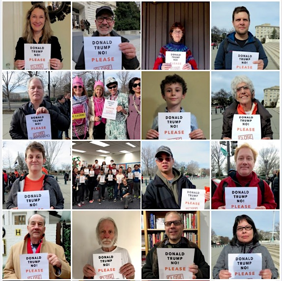 Some of the Close Guantanamo supporters who have been photographed in 2017 with posters urging Donald Trump to close the prison.