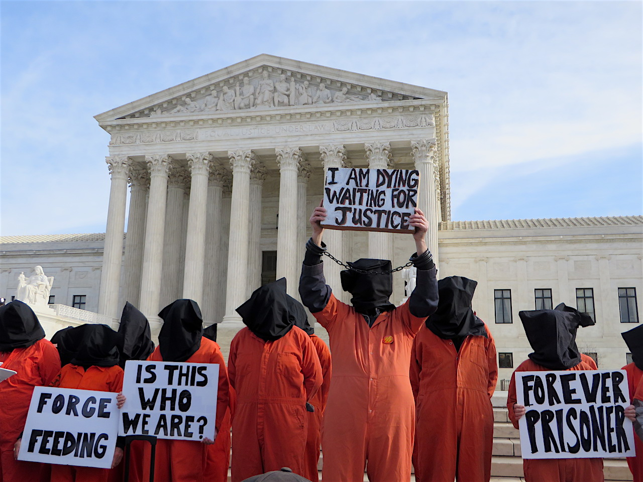 Protestors with Witness Against Torture outside the Supreme Court calling for the closure of Guantanamo on Jan. 11, 2017, the 15th anniversary of the prison's opening (Photo: Andy Worthington).