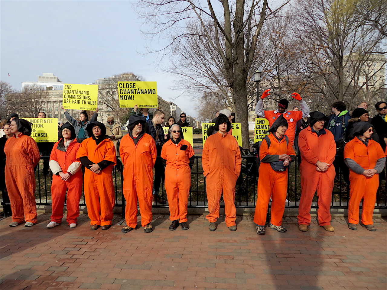 Campaigners calling for the closure of Guantanamo at the annual protest outside the White House on January 11, 2018, the 16th anniversary of the prison's opening.