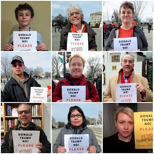 Some of the Close Guantanamo supporters who have stood with posters calling on Donald Trump to close Guantanamo over the first 100 days of his presidency.