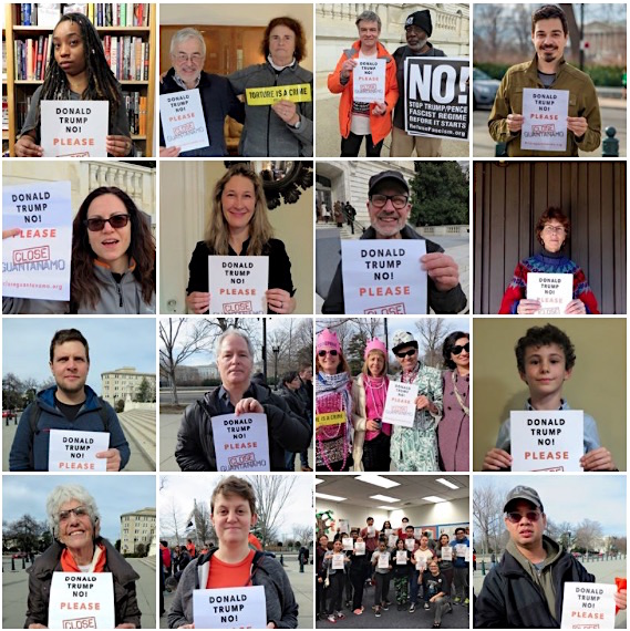 Photos of some of the campaigners who, throughout 2017, have been photographed with posters urging Donald Trump to close Guantanamo.