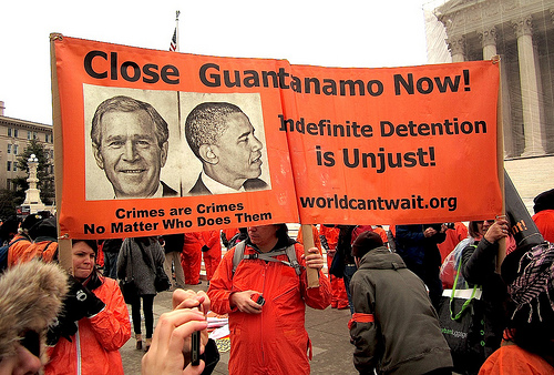 Close Guantanamo Now: a banner held up by World Can't Wait supporters outside the Us Supreme Court on January 11, 2013, the 11th anniversary of the opening of the prison (Photo: Andy Worthington).