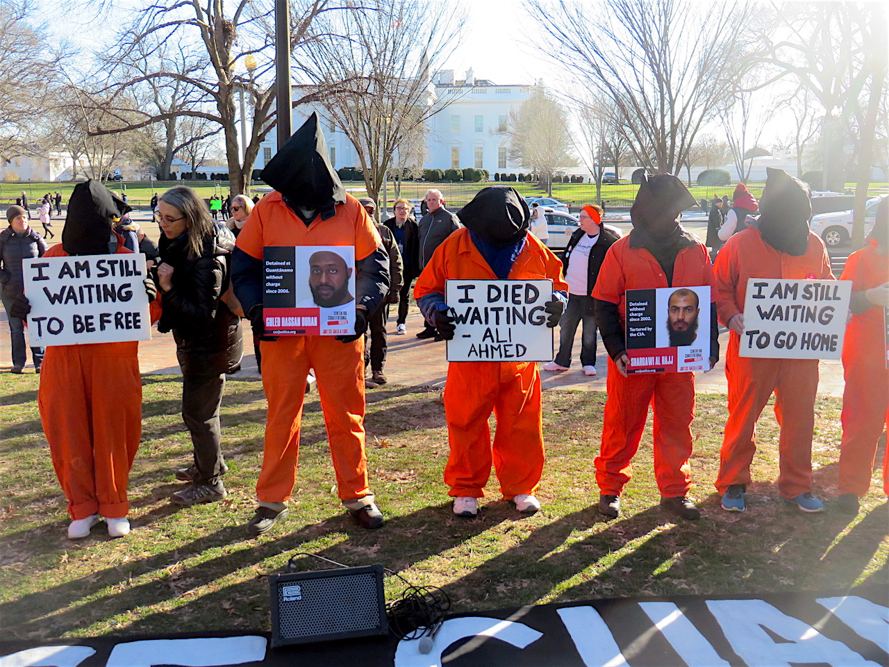 Witness Against Torture campaigners calling for the closure of Guantanamo at the annual vigil outside the White House on January 11, 2019, the 17th anniversary of the opening of the prison (Photo: Andy Worthington).