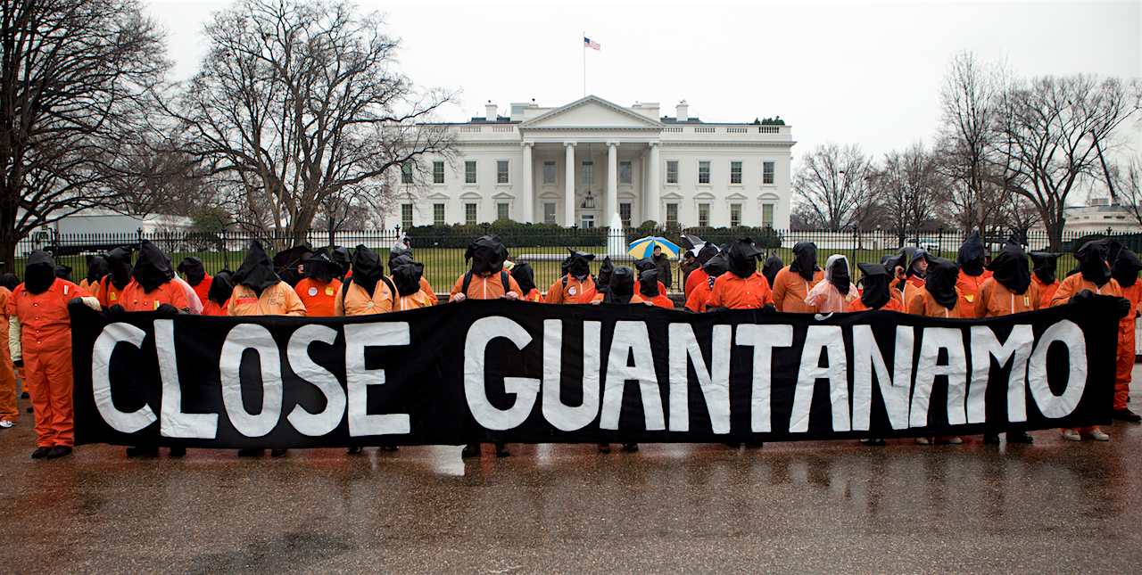 Campaigners from Witness Against Torture and other organizations call for the closure of Guantanamo outside the White House on January 11, 2012, the 10th anniversary of the prison's opening.