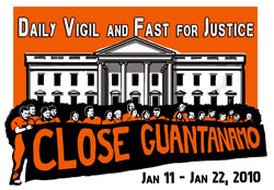 Witness Against Torture logo for Guantanamo Vigil, January 2010