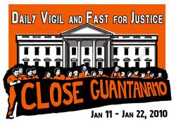 Witness Against Torture logo for Guantanamo Vigil, January 2010