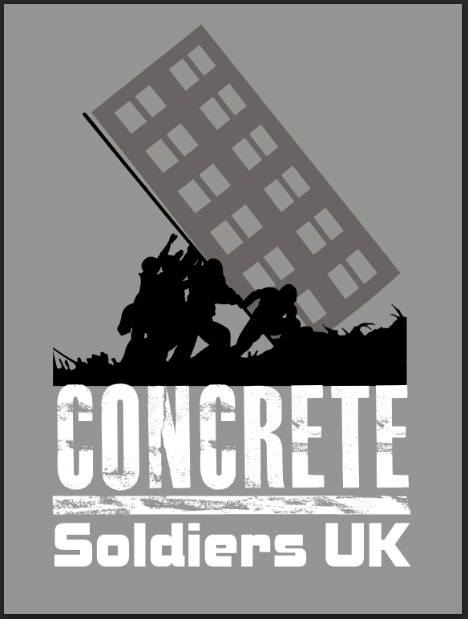 A promotional poster for 'Concrete Soldiers UK', designed by the Artful Dodger. The film, directed by Nikita Woolfe, was released in December 2017, and a crowdfunded was launched in March 2018 to take the film on the road.
