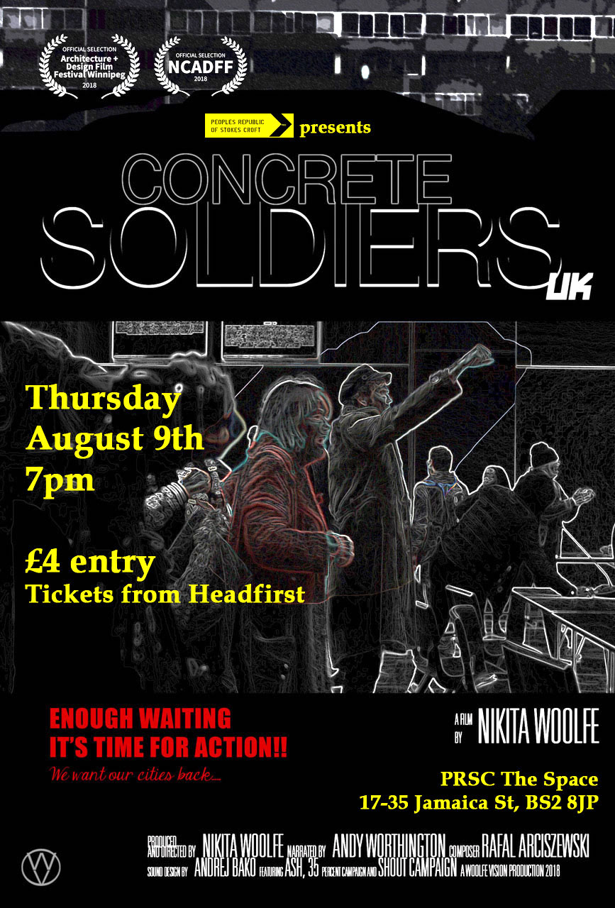 Poster for the screening of 'Concrete Soldiers UK' in Bristol on August 9, 2018.