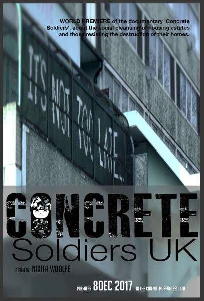 A poster for the launch of 'Concrete Soldiers UK', at the Cinema Museum in Kennington on December 8, 2017.
