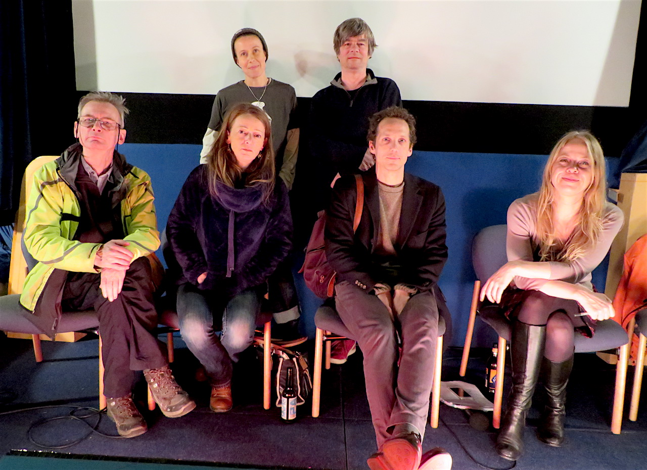 The panel at the world premiere of 'Concrete Soldiers UK' at the Cinema Museum in Kennington, London SE11 on Friday December 8, 2017. Standing at the back are director Nikita Woolfe, who spent three years making the documentary film about the destruction of council estates, and the people resisting the destruction of their homes, and narrator Andy Worthington, who chaired the post-screening Q&A. Seated, from L to R: panellists Jerry Flynn of the 35 Percent Campaign in Southwark, Tania Charman, director of The Heart of Hastings Community Land Trust, barrister Jamie Burton and Sian Berry, Green Party London Assembly member.