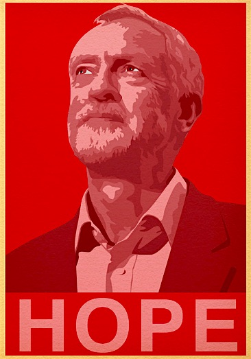 A Jeremy Corbyn 'Hope' poster by Posterrity.com on Deviant Art.