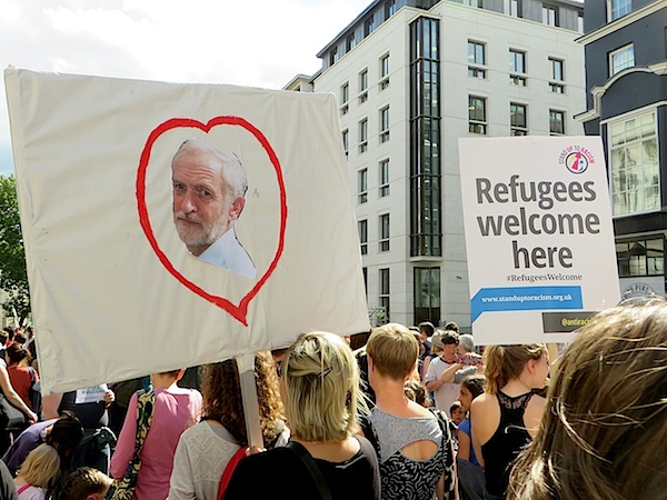 A placard on the huge march in support of refugees in London on September 12, 2015, the same day that Jeremy Corbyn was elected as leader of the Labour Party (Photo: Andy Worthington).