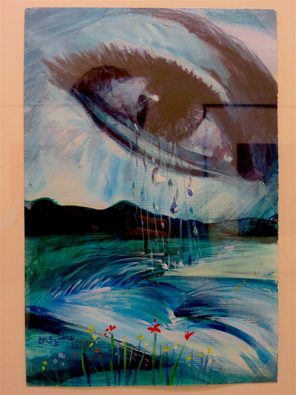 Untitled (aka Crying eye) by Mohammed al-Ansi, who was released from Guantanamo to Oman in January 2017, just before President Obama left office (Photo: Andy Worthington).