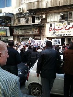 The only known photograph of the protest against the detention of 21 prominent political prisoners in Damascus on March 16, 2011, just before it was broken up by the security services, who arrested 50 people (photo via the Egyptian Chronicles blog)