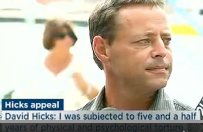 A screenshot of of a news programme featuring David Hicks speaking about the dismissal of his conviction at Guantanamo for providing material support to terrorism, February 19, 2015.