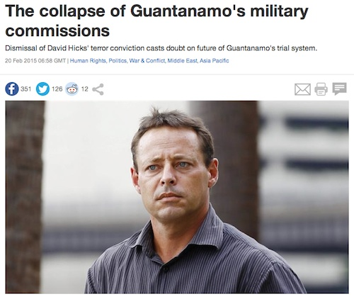 A screenshot of my article for Al-Jazeera about the dismissal of David Hicks' conviction at Guantanamo.