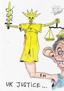 A political cartoon by Ziyad Ali Hashem (Detainee DD)